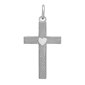Sterling Silver Textured Cross w  Heart Design