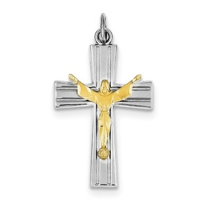 Sterling Silver Rhodium plated   Vermeil Crucifix Charm