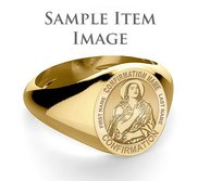 Custom Saint w  Personalized Saint Name Confirmation Religious Ring