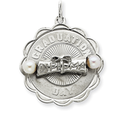 Sterling Silver Graduation Day Disc with Cultured Pearls Charm