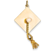 14k Graduation Cap with Cultured Pearl Charm