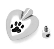 Stainless Steel Paw Print Heart Cremation   Ash Holder