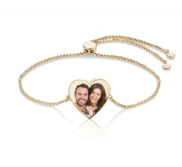 Women s Adjustable Photo Heart Engraved Bracelet