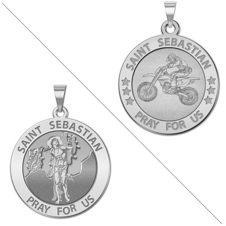 Motocross saint sebastian doubledside sports religious medal catalog aloadofball Images