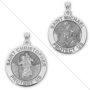 Saint Christopher   Saint Michael Doublesided Medal