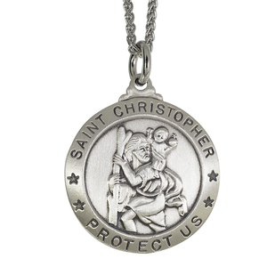 Sterling Silver Saint Christopher Medal w  24 inch Curb chain