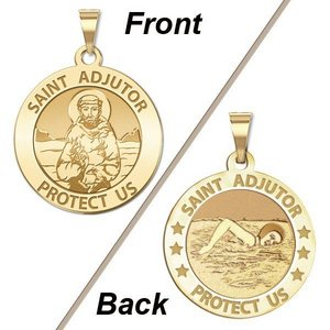 Saint Adjutor Doubles Sided Female Swimmer Round Religious Medal    EXCLUSIVE