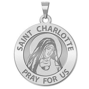 Saint Charlotte Round Religious Medal    EXCLUSIVE