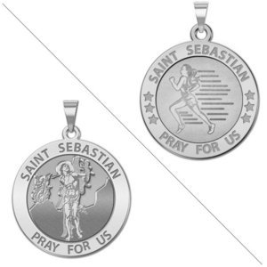 Female Runner   Saint Sebastian Doubledside Sports Religious Medal  EXCLUSIVE