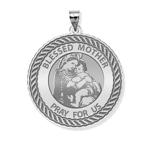 Blessed Mother  Virgin Mary Round Rope Border Religious Medal