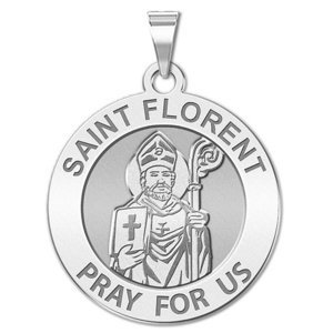 Saint Florent Round Religious Medal   EXCLUSIVE