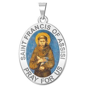 Saint Francis of Assisi Oval Religious Medal   Color EXCLUSIVE