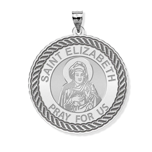 Saint Elizabeth  Mary s Cousin  Round Rope Border Religious Medal