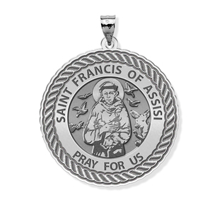 Saint Francis of Assisi Round Rope Border Religious Medal