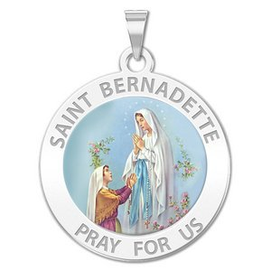 Saint Bernadette Round Religious Medal   Color EXCLUSIVE