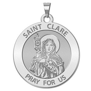 Saint Clare of Assisi Round Religious Medal    EXCLUSIVE