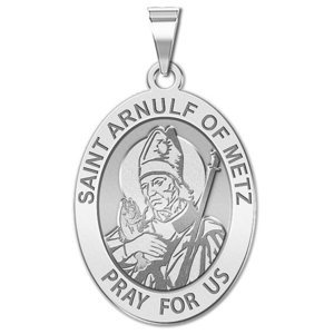 Saint Arnulf of Metz OVAL Religious Medal   EXCLUSIVE