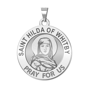 Saint Hilda of Whitby Round Religious Medal   EXCLUSIVE