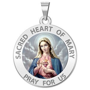 Sacred Heart of Mary Religious Medal  Color EXCLUSIVE
