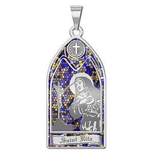 Saint Rita   Stained Glass Religious Medal  EXCLUSIVE