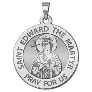 Saint Edward the Martyr Round Religious Medal  EXCLUSIVE
