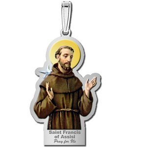 Saint Francis of Assisi Outlined Religious Medal   Color EXCLUSIVE