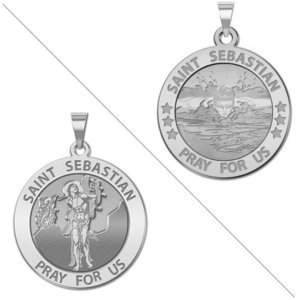 Male Swimmers   Saint Sebastian Doubledside Sports Religious Medal  EXCLUSIVE