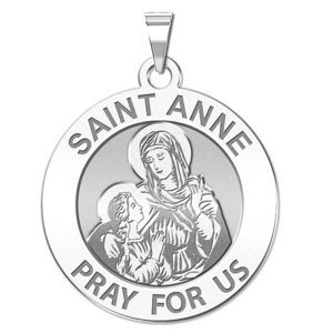 Saint Anne Round Religious Medal  EXCLUSIVE