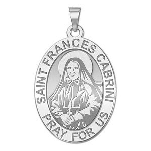 Saint Frances Cabrini Oval Religious Medal   EXCLUSIVE