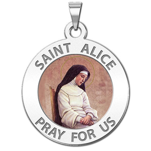 Saint Alice Round Religious Medal Color