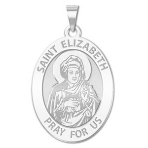 Saint Elizabeth  Mary s Cousin  Oval Religious Medal   EXCLUSIVE