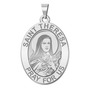 Saint Theresa   Oval Religious Medal  EXCLUSIVE