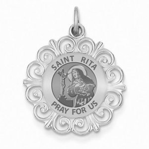 Saint Rita Round Filigree Religious Medal   EXCLUSIVE