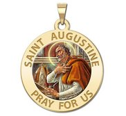Saint Augustine of Hippo Round Color Religious Medal  EXCLUSIVE
