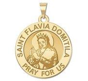 Saint Flavia Domitila Round Religious Medal   EXCLUSIVE
