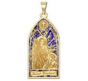 Saint Raphael   Stained Glass Religious Medal  EXCLUSIVE