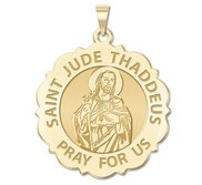 Saint Jude Scalloped Religious Medal   EXCLUSIVE