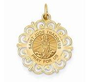 Saint Jude Thaddeus Round Filigree Religious Medal   EXCLUSIVE