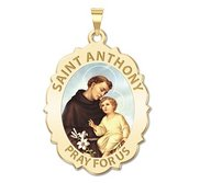 Saint Anthony Scalloped Oval Religious Medal  Color EXCLUSIVE