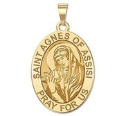 Saint Agnes Of Assisi Oval Religious Medal    EXCLUSIVE