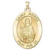 Saint Agnes of Rome Oval Religious Medal    EXCLUSIVE