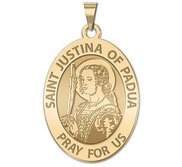 Saint Justina of Padua OVAL Religious Medal   EXCLUSIVE