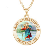 Saint Christopher Round Religious Medal    Color EXCLUSIVE