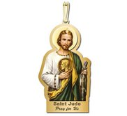 Saint Jude Outlined Color Religious Medal   EXCLUSIVE