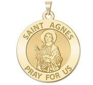 Saint Agnes of Rome Round Religious Medal   EXCLUSIVE