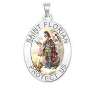 Saint Florian Oval Religious Medal   Color EXCLUSIVE