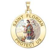 Saint Florian Round Religious Medal   Color EXCLUSIVE