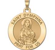 Saint Dymphna Round Religious Medal  EXCLUSIVE