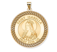 Saint Isabella Round Rope Border Religious Medal
