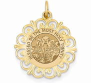 Holy Trinity Round Filigree Religious Medal   EXCLUSIVE